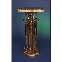 Bronze and Onyx Pedestal - Bronze and Ivory Sculpture by P. Seca