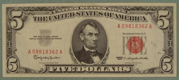 1963 5 Red Seal Note Five Dollar Bill