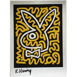 Keith Haring, Black & Yellow Bunny, Serigraph
