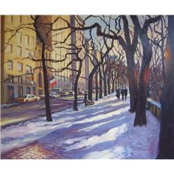 Michele Byrne, Snowfall by the Park, Oil on Canvas