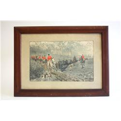 Watercolor   Fox Hunt  artist signed