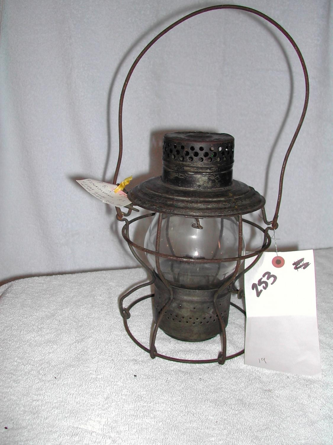PENNSYLVANIA RR, PRR, HANDLAN LAMP, HANDLAN GLOBE WITH PRR ETCHED IN ...