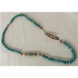 1996 Navajo Silver Turquoise Coral Necklace Signed