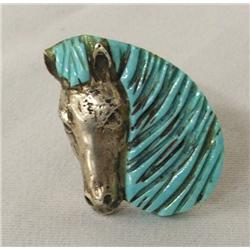 Navajo Sterling Carved Turquoise Horse Ring 11 1/2