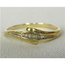 10Kt Gold And Diamond Baguettes Ring