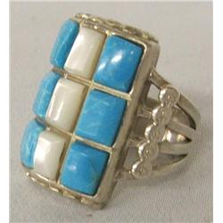Navajo Silver Turquoise MOP Ring Size 9
