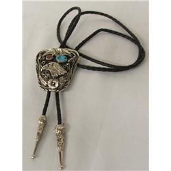 Eagle Turquoise Coral Bolo Tie Hallmarked