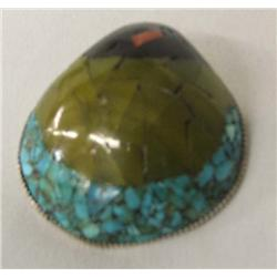 Shell Turquoise Jet Coral Inlay Pendant Hallmarked