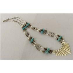 Navajo Turquoise Mother Of Pearl Necklace