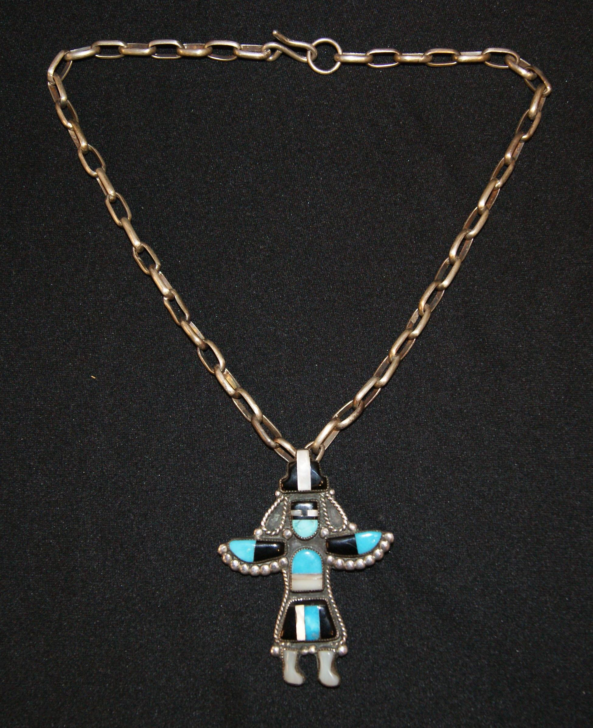 necklace and bear pendant product sterling pawn zuni old turquoise southwestern
