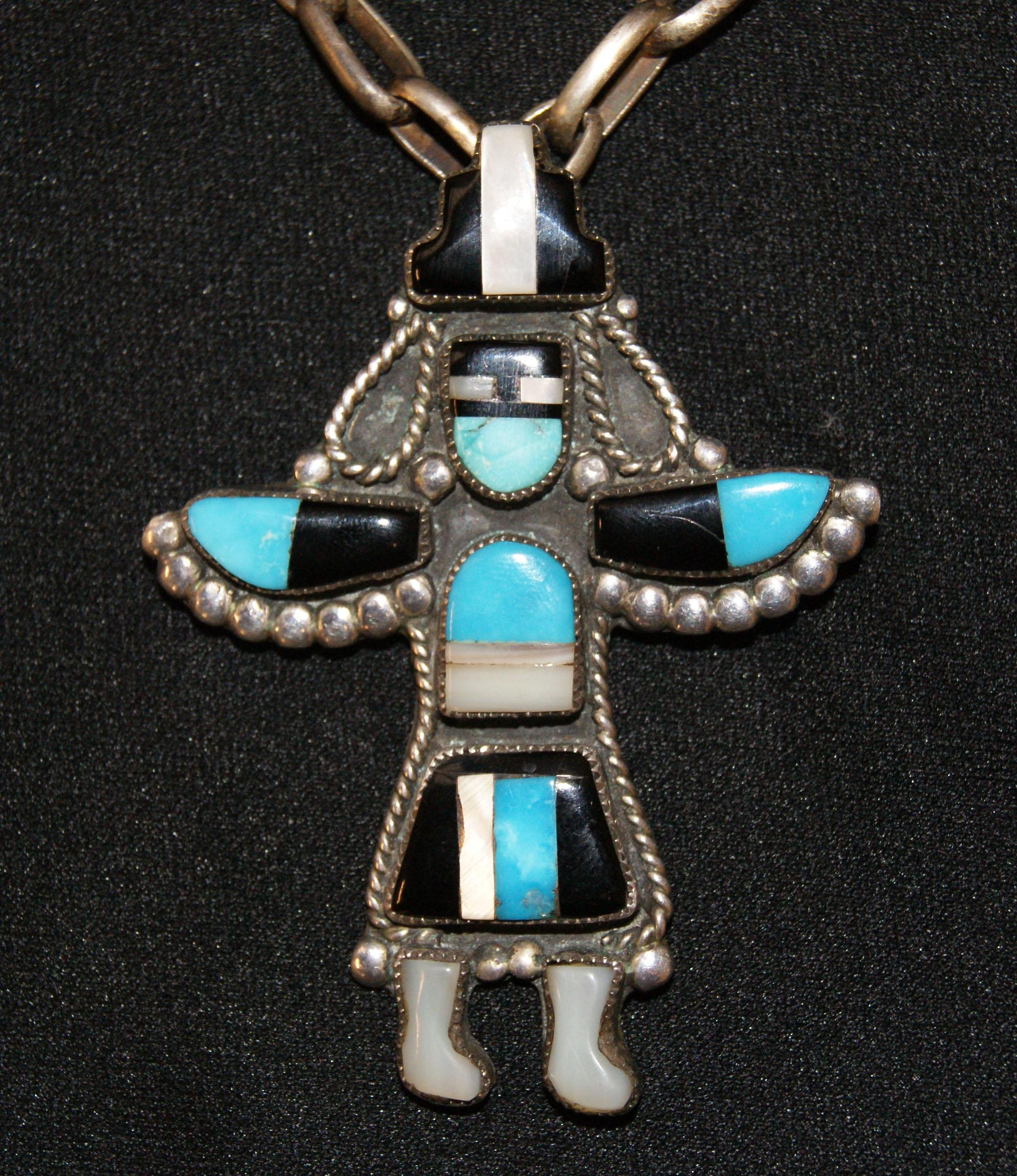multiple pendants native silver pin pendant american zuni stones necklaces and micro inlay