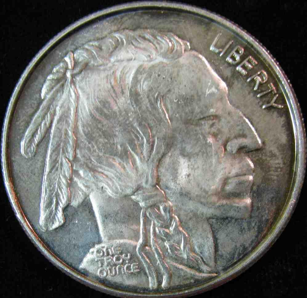 50 Buffalo Nickel Design One Troy Ounce 999 Fine Silver Bu