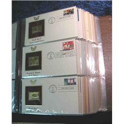 """51. Large Simulated Leather Bound Album titled """"Golden Replicas of U.S. Stamps"""