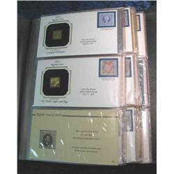 """57. Large Simulated Leather Bound Album titled """"Golden Replicas of U.S. Classic Stamps"""""""