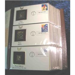 """58. Large Simulated Leather Bound Album titled """"Golden Replicas of U.S. Stamps"""""""