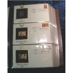 """59. Large Simulated Leather Bound Album titled """"Golden Replicas of U.S. Stamps"""""""