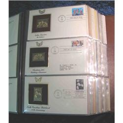 """61. Large Simulated Leather Bound Album titled """"Golden Replicas of U.S. Stamps"""""""