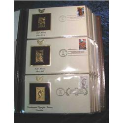"""63. Large Simulated Leather Bound Album titled """"Golden Replicas of U.S. Stamps"""""""