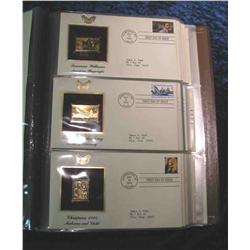 """64. Large Simulated Leather Bound Album titled """"Golden Replicas of U.S. Stamps"""""""