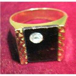 67. Size 10 Men's Black Onyx and zircon ring. New condition.