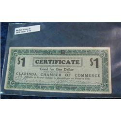 72. Depression Scrip Issued April 10, 1933 Clarinda Chamber of Commerce.