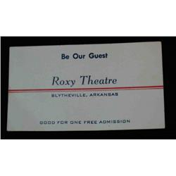 """73. """"Roxy Theatre"""" Blytheville, Arkansas Scrip.  Good for one free admission."""
