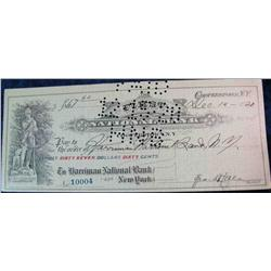 75. 1920 First National Bank of Cooperstown, N.Y. hole cancelled check.