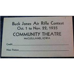 """81. 1935 Coupon for """"Buck Jones Air Rifle Contest"""" held at the Community"""