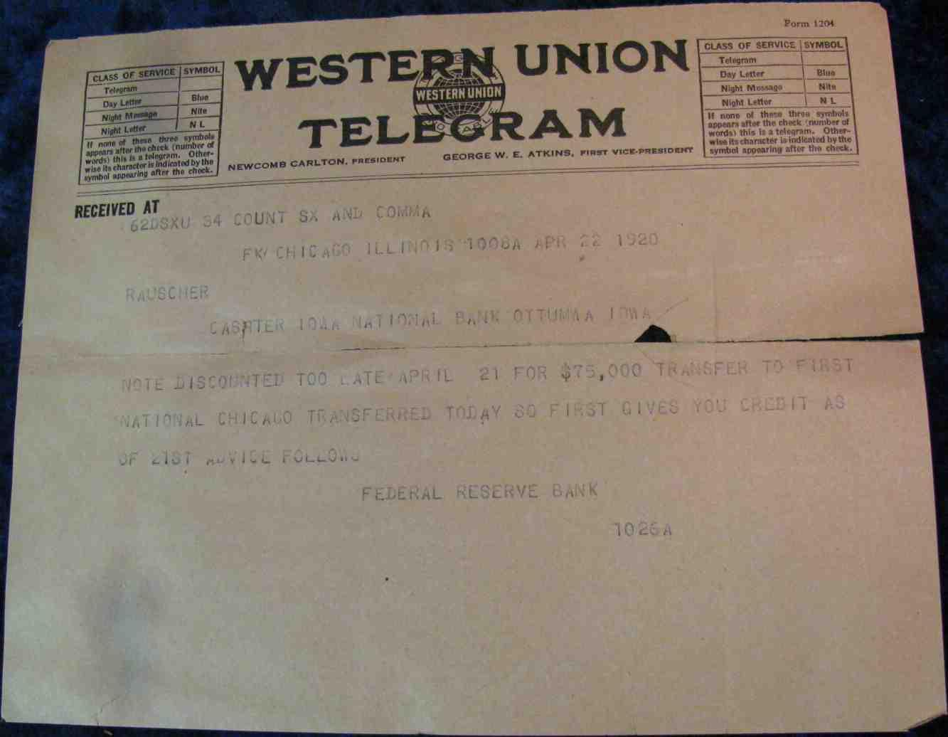 1920 Western Union Telegraph For The Iowa National Bank Of Ottumwa