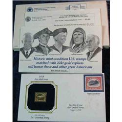 90. 1918 22K Gold Replica of the .24c Inverted Jenny Cover with literature