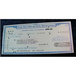 92. 1962 Cancelled Check drawn on the Chicago, Rock Island and Pacific