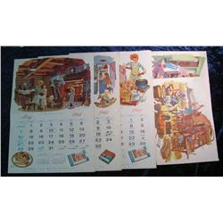 93. 1961 John Morrell & Co. Advertising Calendar pages with Western themes.