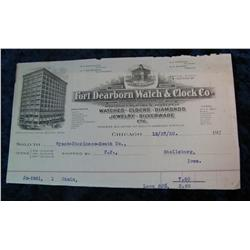 98. 1920 Invoice from Fort Dearborn Watch & Clock Co. Nice lithograph.