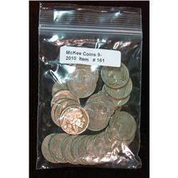 161. Roll of (25) Mixed Date Buffalo Nickels. Average circulated.