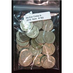 163. Roll of (25) Mixed Date Buffalo Nickels. Average circulated.
