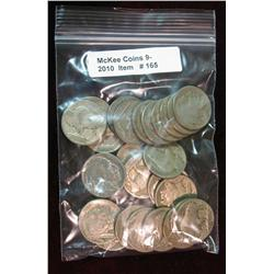165. Roll of (25) Mixed Date Buffalo Nickels. Average circulated.