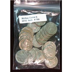 166. Roll of (25) Mixed Date Buffalo Nickels. Average circulated.