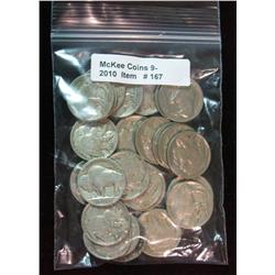 167. Roll of (25) Mixed Date Buffalo Nickels. Average circulated.