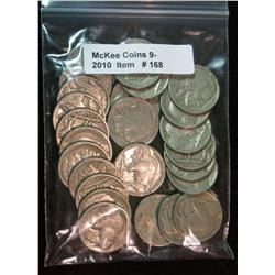 168. Roll of (25) Mixed Date Buffalo Nickels. Average circulated.