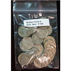 169. Roll of (25) Mixed Date Buffalo Nickels. Average circulated.