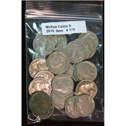170. Roll of (25) Mixed Date Buffalo Nickels. Average circulated.