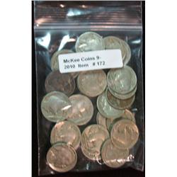 172. Roll of (25) Mixed Date Buffalo Nickels. Average circulated.