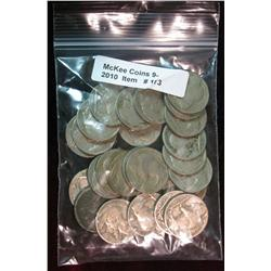 173. Roll of (25) Mixed Date Buffalo Nickels. Average circulated.