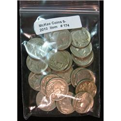 174. Roll of (25) Mixed Date Buffalo Nickels. Average circulated.