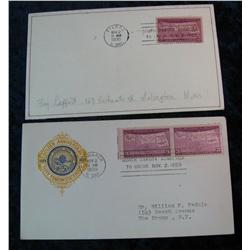 "199. (2) 1939 ""50th Anniversary of Statehood"" Stamped Covers with postmarks"