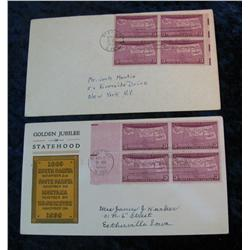 "200. (2) 1939 ""50th Anniversary of Statehood"" Stamped Covers with postmarks"