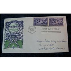 201. 1839-1939 Baseball Centennial First Day of Issue Cover postmarked at