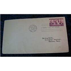 203. First Day of Issue 1939 Cover with Postmark aboard the U.S.S. Charleston