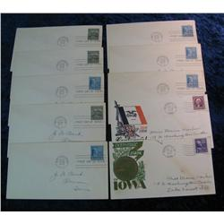 205. (10) 1939 Postmarked Covers including First Days & Iowa Centennials.
