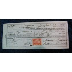 208. 1899 Promissory Note payable to the Mc Cormick Harvesting Machine Co.